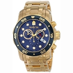 Invicta Men's 0073 Pro Diver Gold & Blue Swiss Watch