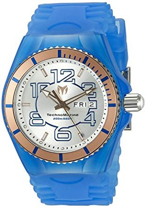 Technomarine TM 115146 Men's Jellyfish Quartz Stainless Steel and Rose Gold with Blue Silicone Casual Watch